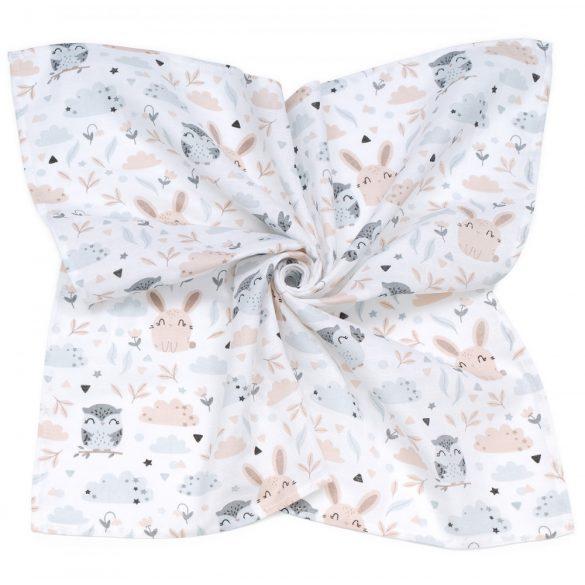 MTT Nagy textil pelenka (120x120) - Fehér alapon bagoly és nyuszi