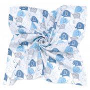 MTT Nagy textil pelenka (120x120) - Fehér alapon kék elefántok