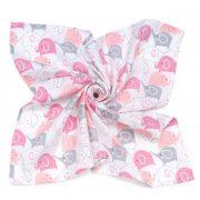 MTT Nagy textil pelenka (120x120) - Fehér alapon rózsaszín elefántok