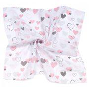 MTT Nagy textil pelenka (120x120) - Fehér alapon rózsaszín szívecskék