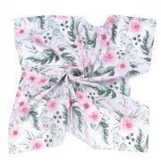 MTT Nagy textil pelenka (120x120) - Fehér alapon rózsaszín virágok
