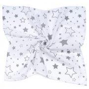 MTT Nagy textil pelenka (120x120) - Fehér alapon szürke csillagok