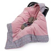 MTT Univerzális takaró - Szürke alapon alapon színes levélkék - rózsaszín belső